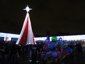 Christmas tree set up in Plaza de Bolivar