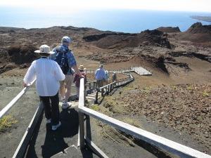 Descending the hill on Bartholomew Island through the barren landscape