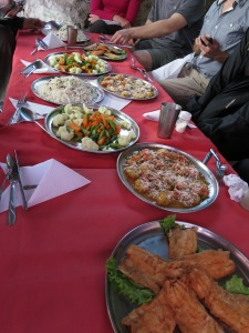 A typical lunch spread