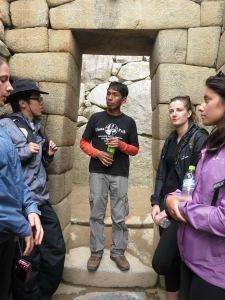 Flavio explaining the intricate masonry