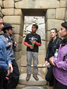 Flavio explaining the intricate masonry