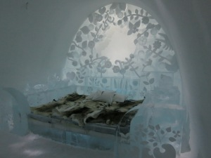 Intricately crafted rooms at the Icehotel