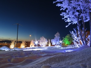 Winter wonderland in Kiruna complemented by the exhaust towers of the iron ore mine